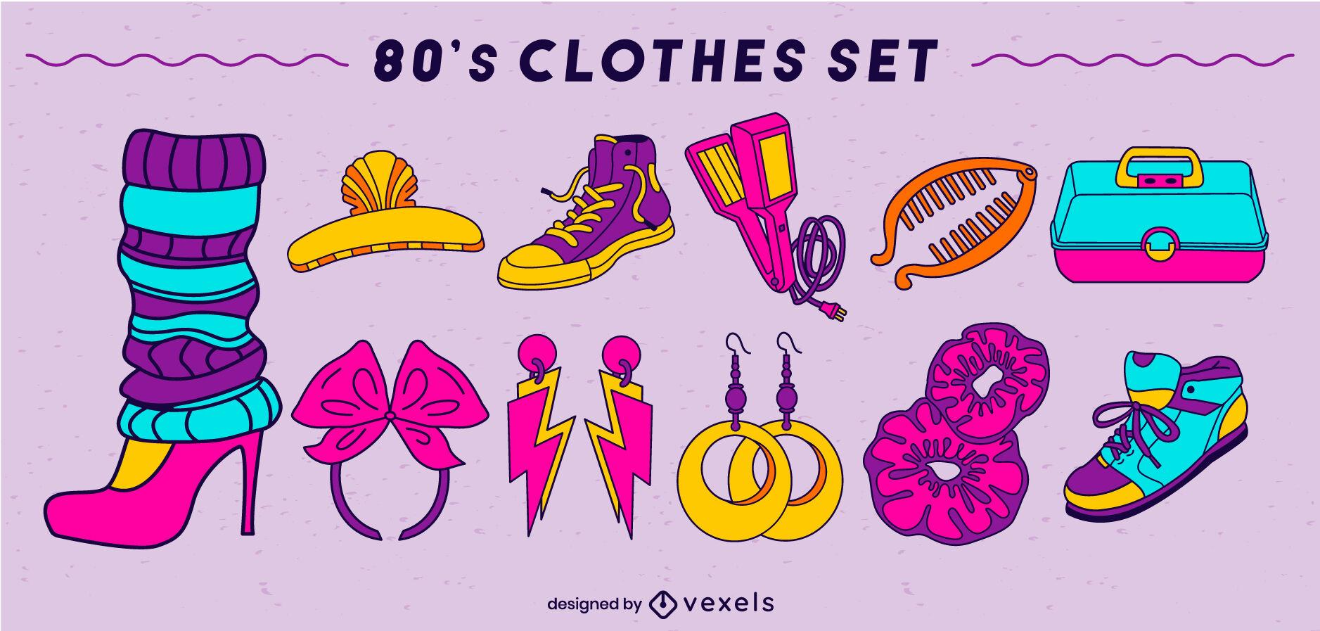 Conjunto de trazos de color de ropa de los 80