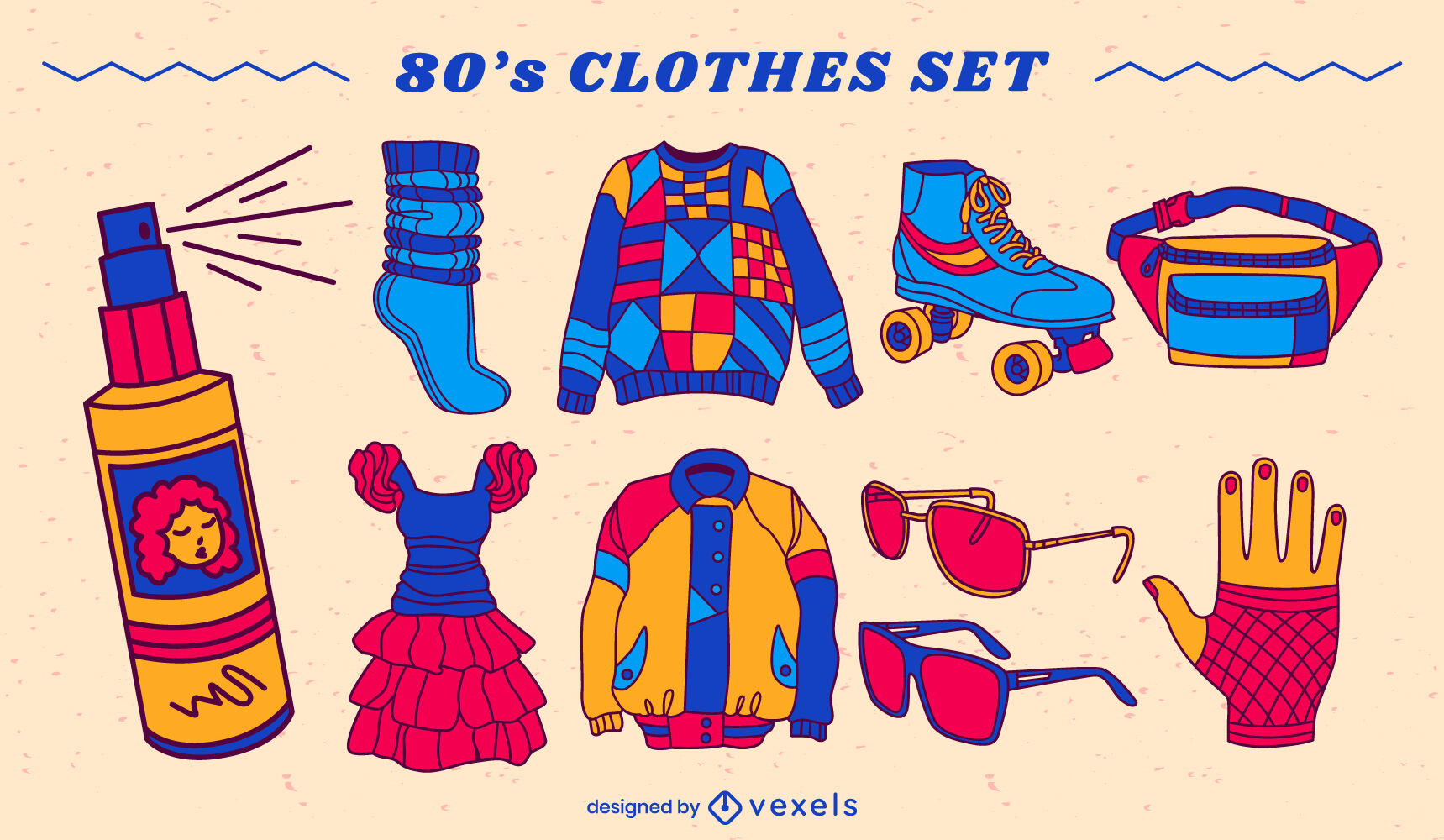 80s clothing set color stroke