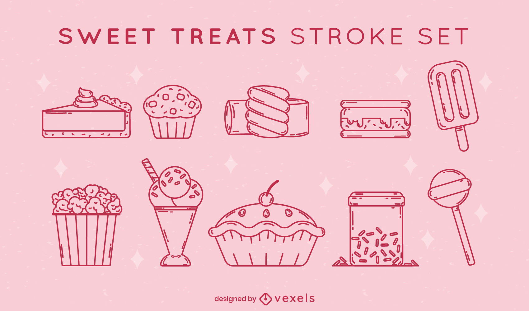 Conjunto de trazos de dulces