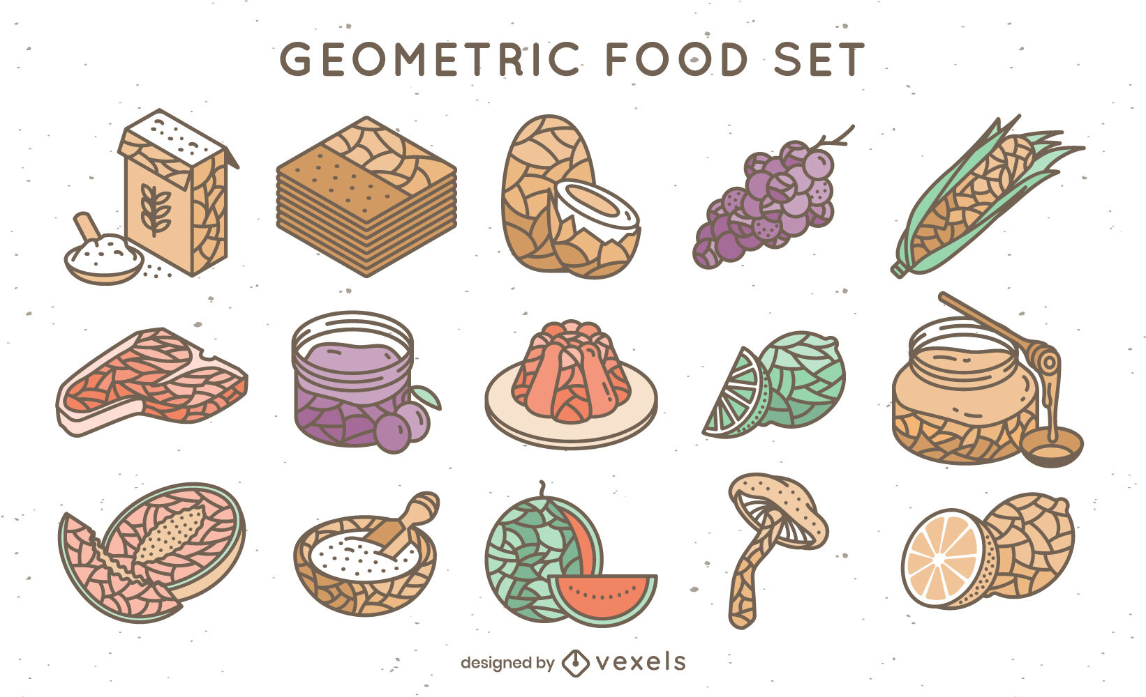 Food ingredients geometric color stroke set