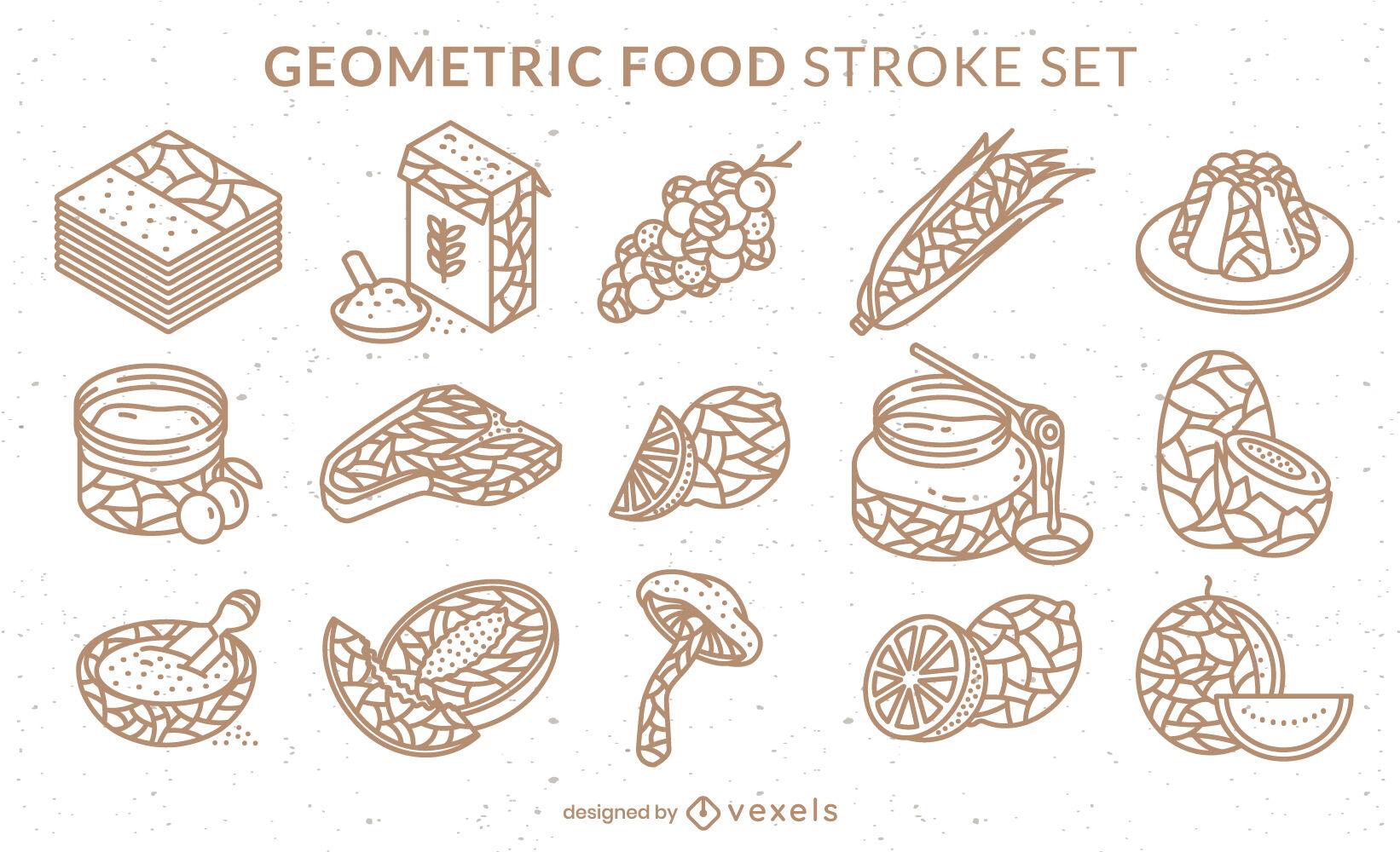 Food ingredients geometric stroke set