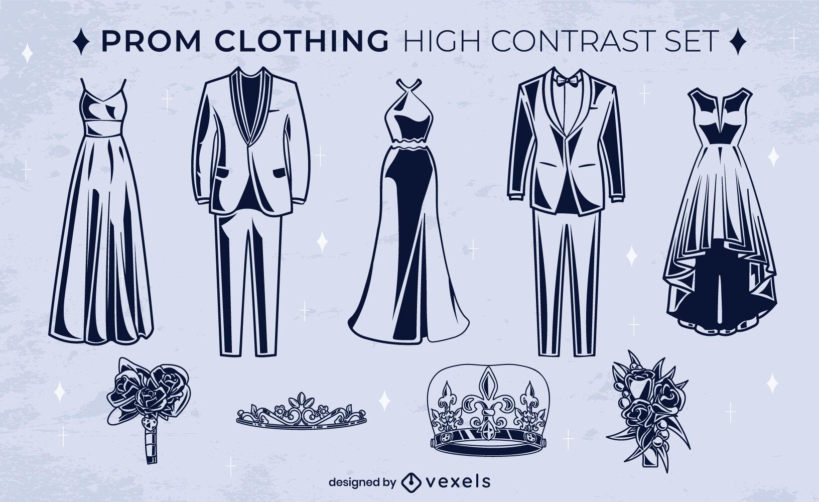 Conjunto de alto contraste de ropa de baile de noche de graduación.