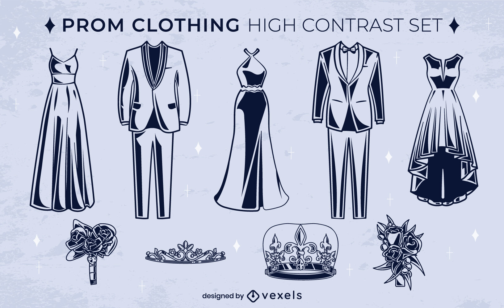 Prom night dance clothing high contrast set