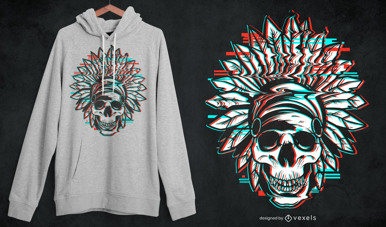 Indian headdress skull glitch t-shirt design