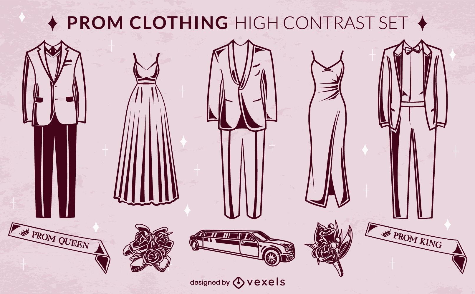 Conjunto de ropa de baile nocturno de alto contraste.