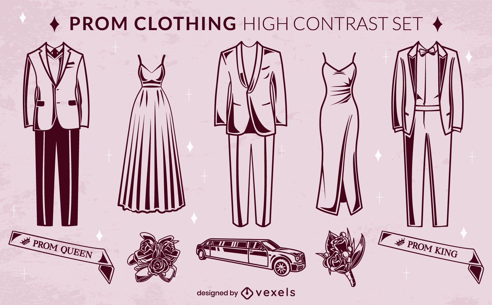 Prom night dance clothing set high contrast