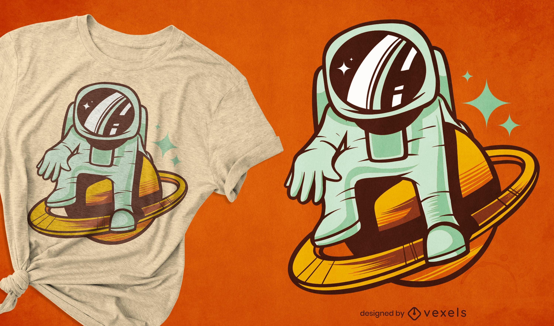 Astronaut in saturn space t-shirt design