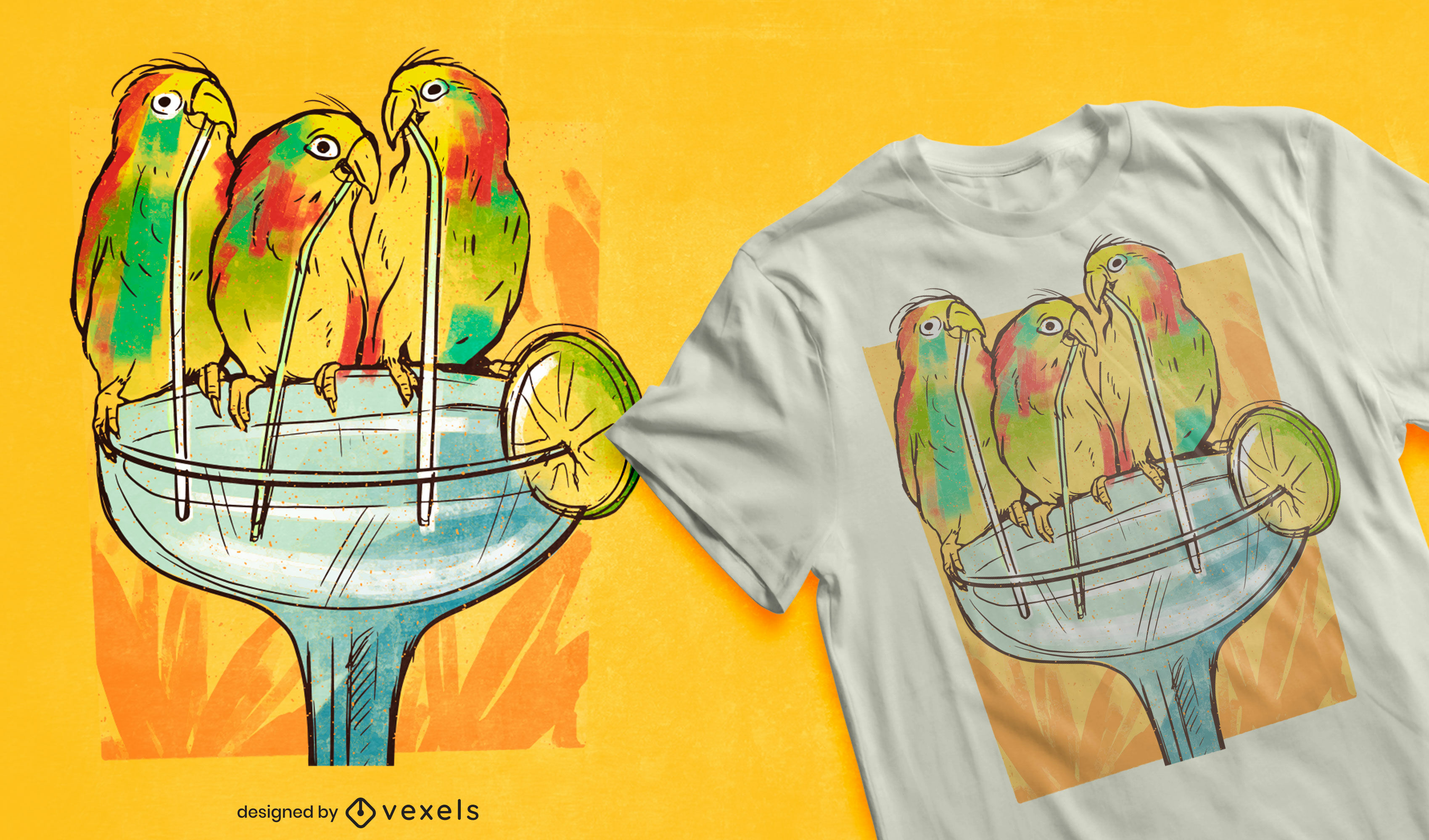 Birds drinking margarita drink t-shirt design