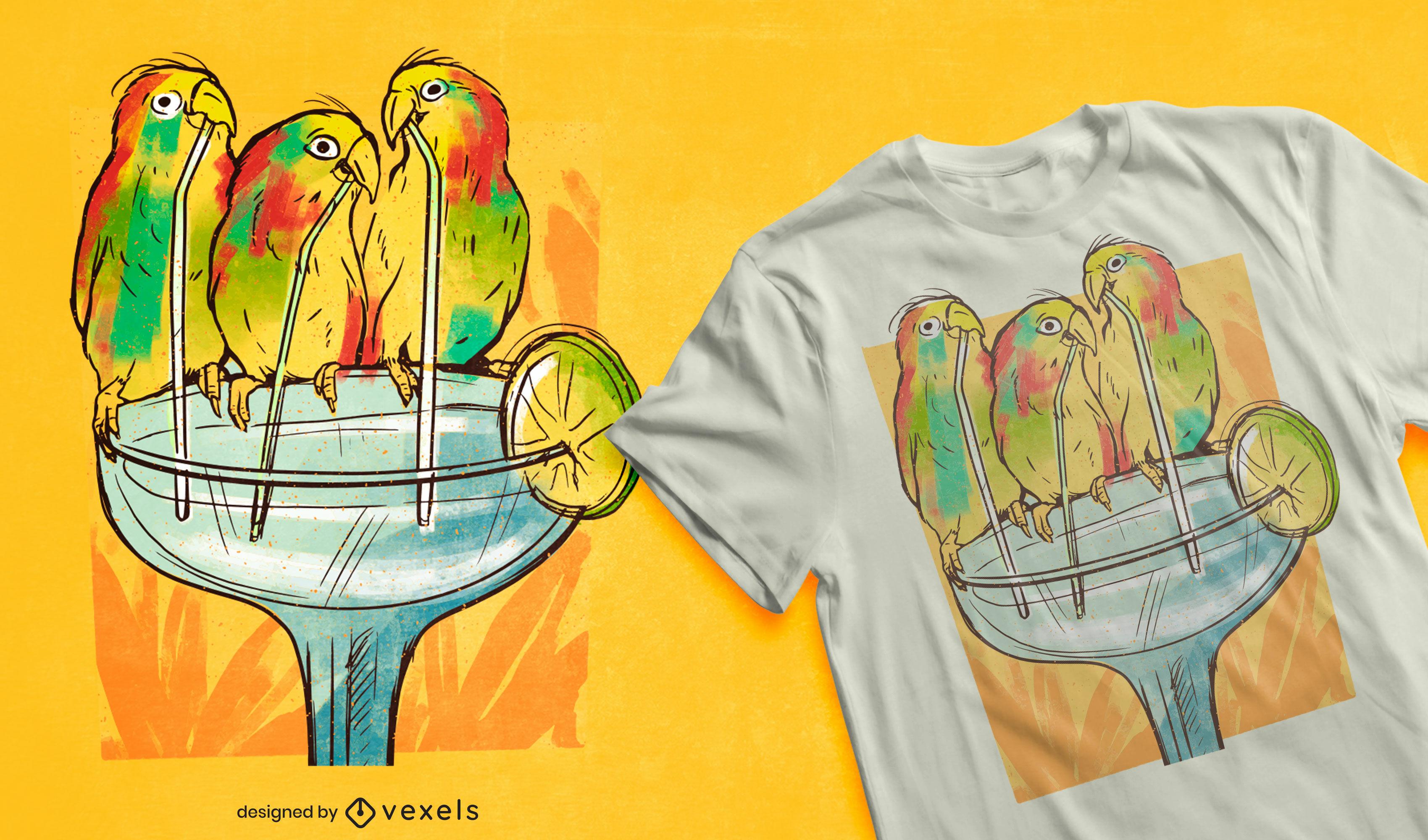 Pájaros bebiendo margarita bebida diseño de camiseta.