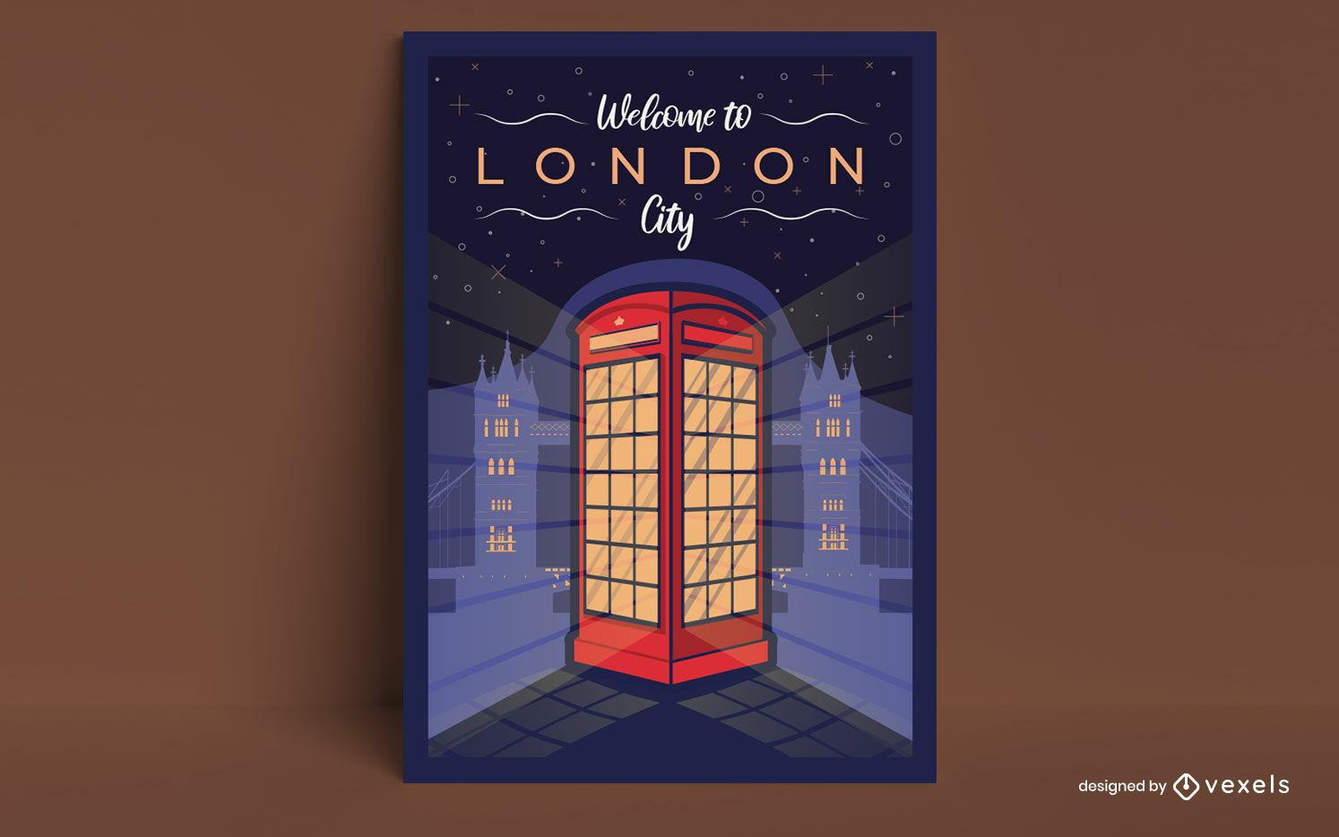 Diseño de cartel de cabina telefónica de la ciudad de Londres.