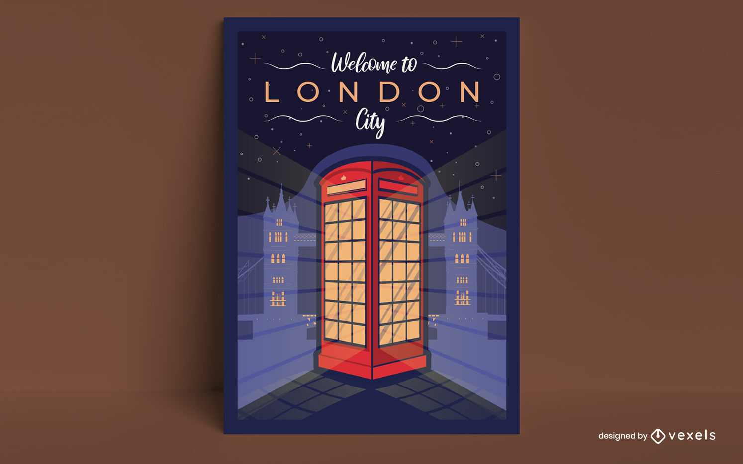 London city phone booth poster design