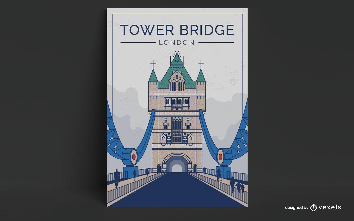 London bridge landmark travel poster design