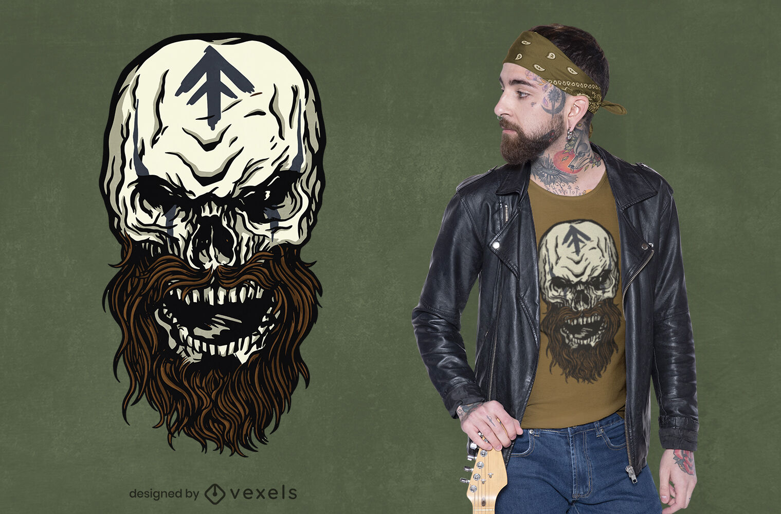 Diseño de camiseta de monstruo de calavera vikinga