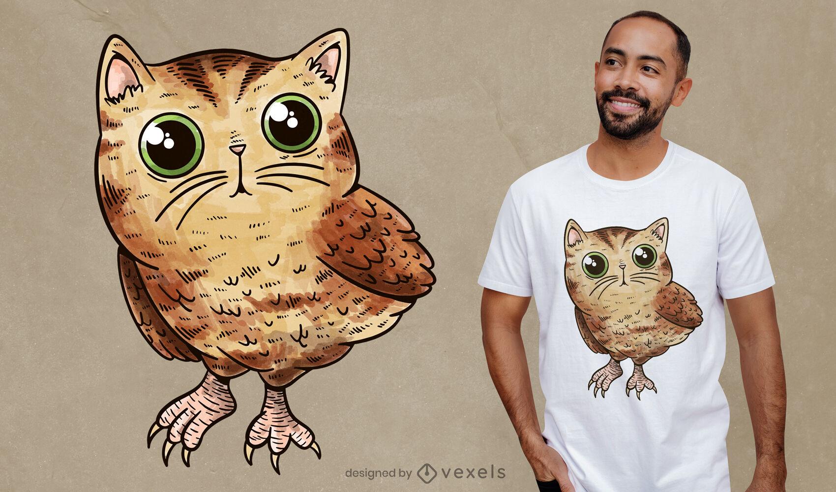 Diseño de camiseta de gato búho