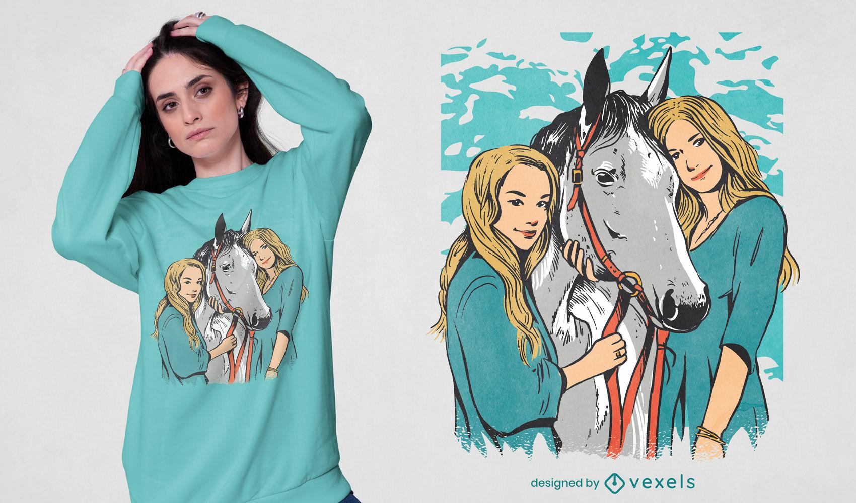 Dise?o de camiseta de retrato de ni?as y caballos.