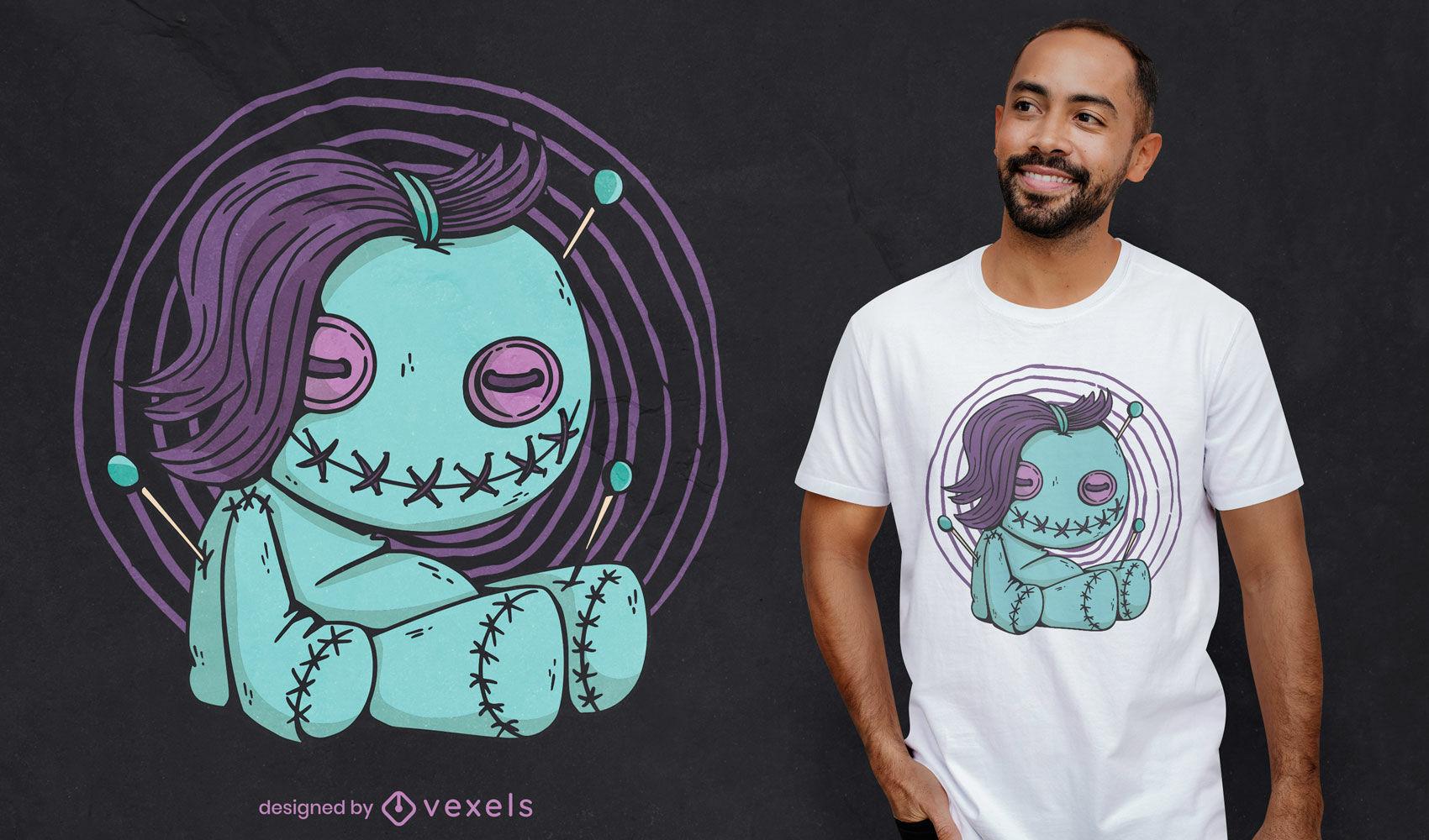 Design de camiseta com boneca vodu sorridente