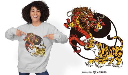 Diseño de camiseta de dragón y tigre yin yang.