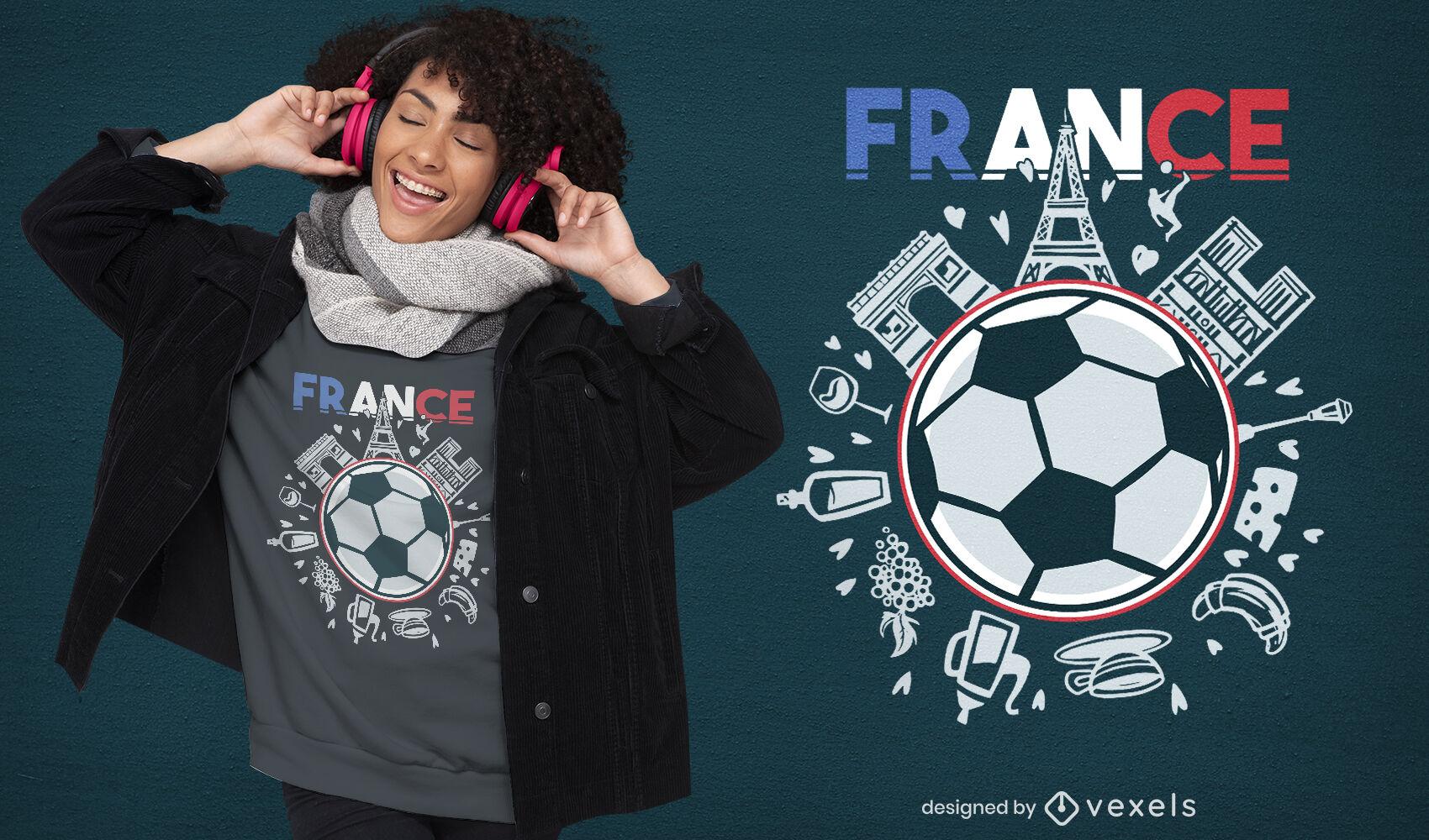 Diseño de camiseta de monumentos de la cultura francesa.