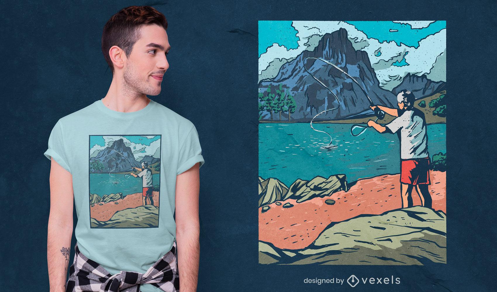 Design de t-shirt de pescador com mosca