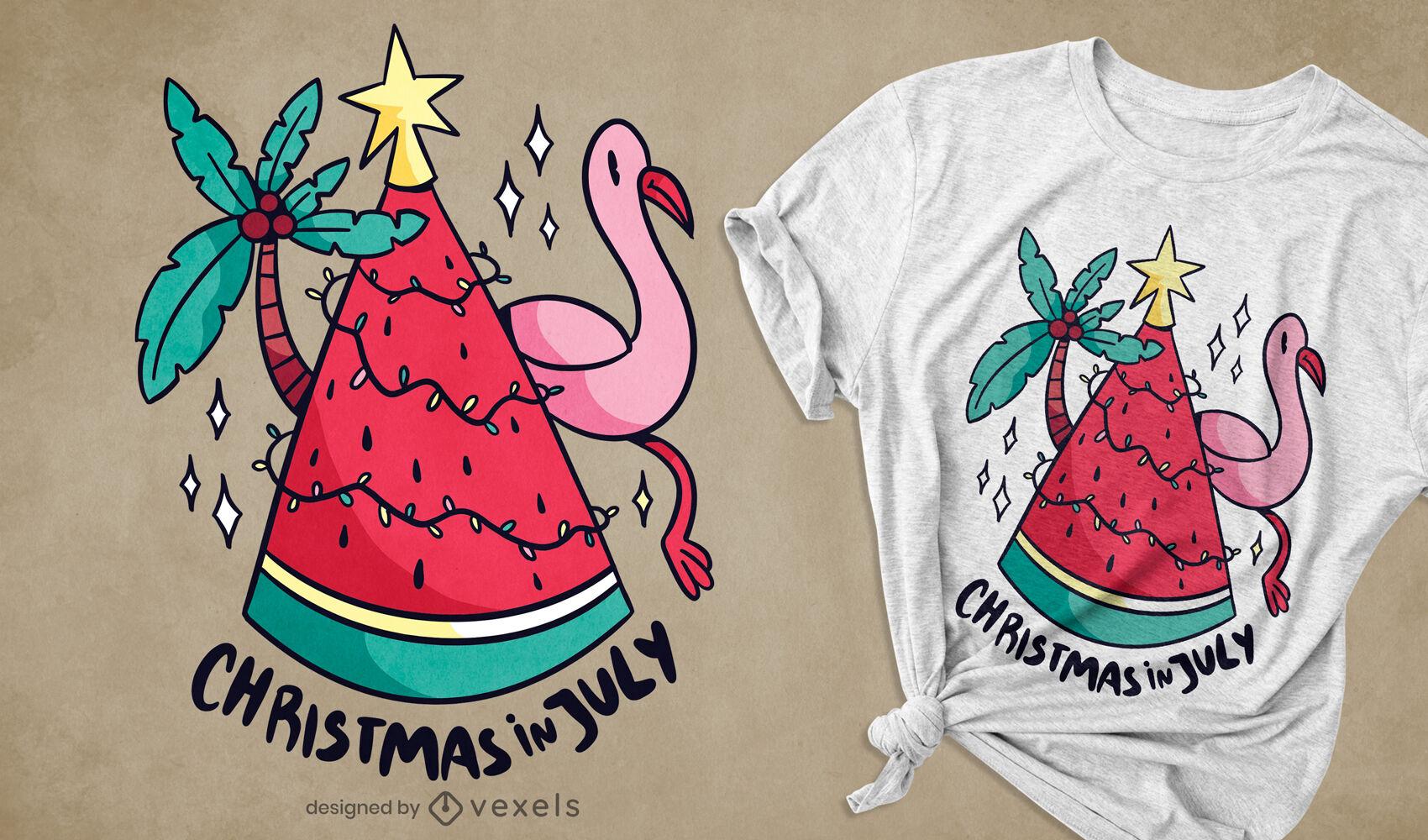 Diseño de camiseta de navidad en julio.