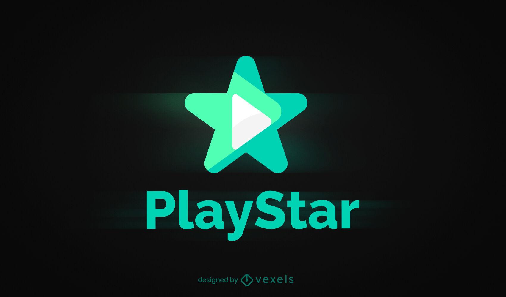 Play symbol star semi flat logo