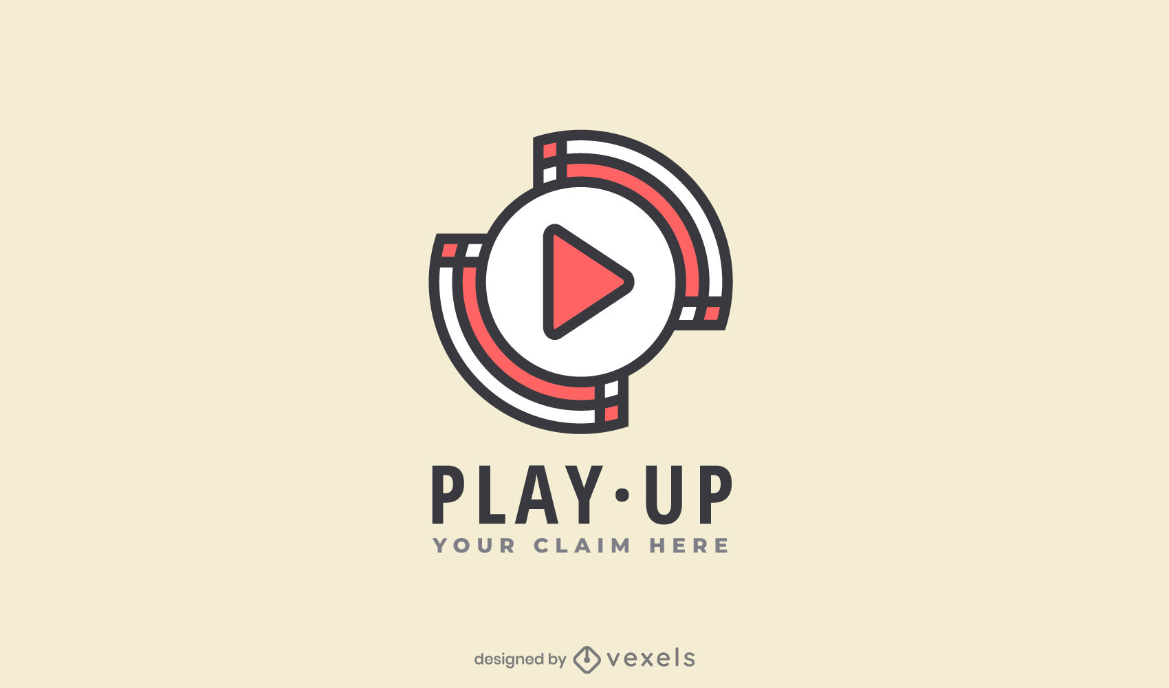 Play symbol color stroke logo template