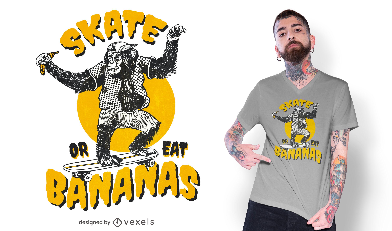 Design de camiseta de macaco de skate