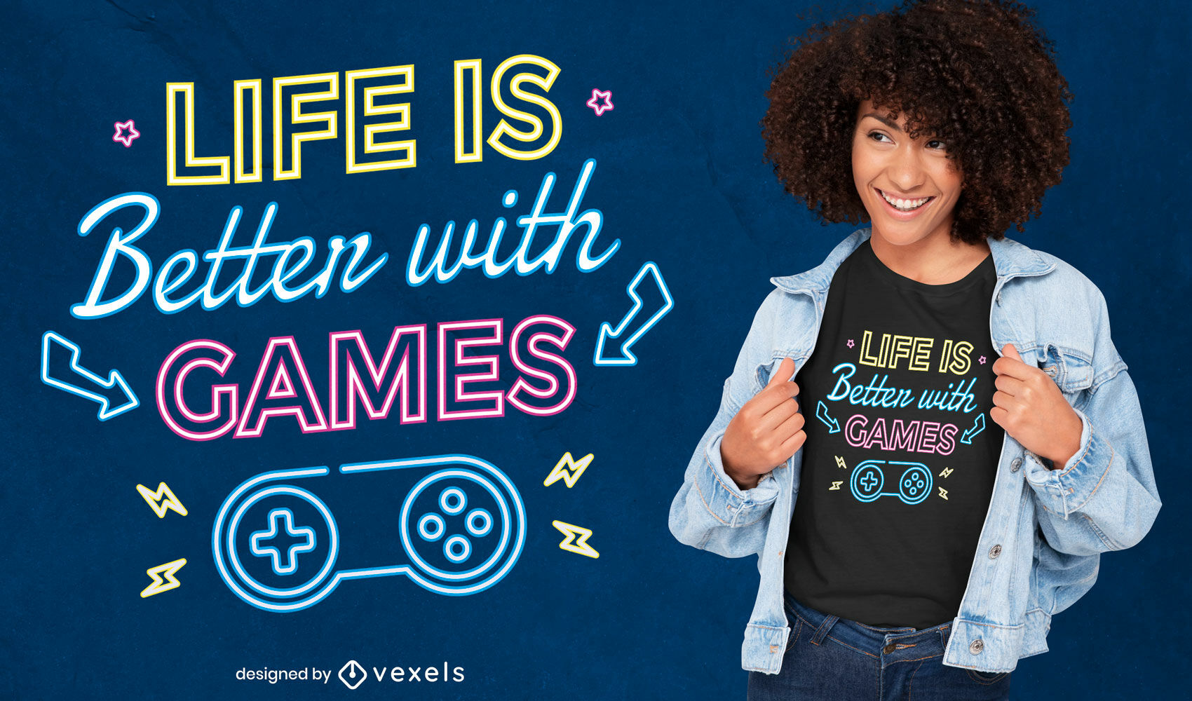 La vida es mejor diseño de camiseta de juegos.
