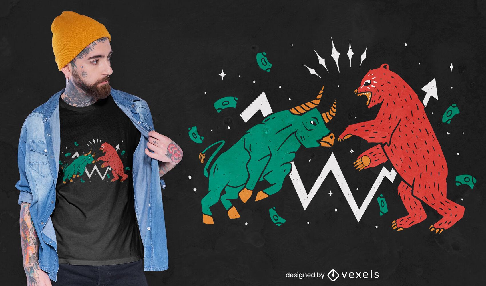 Diseño de camiseta de pelea de animales de toro y oso.