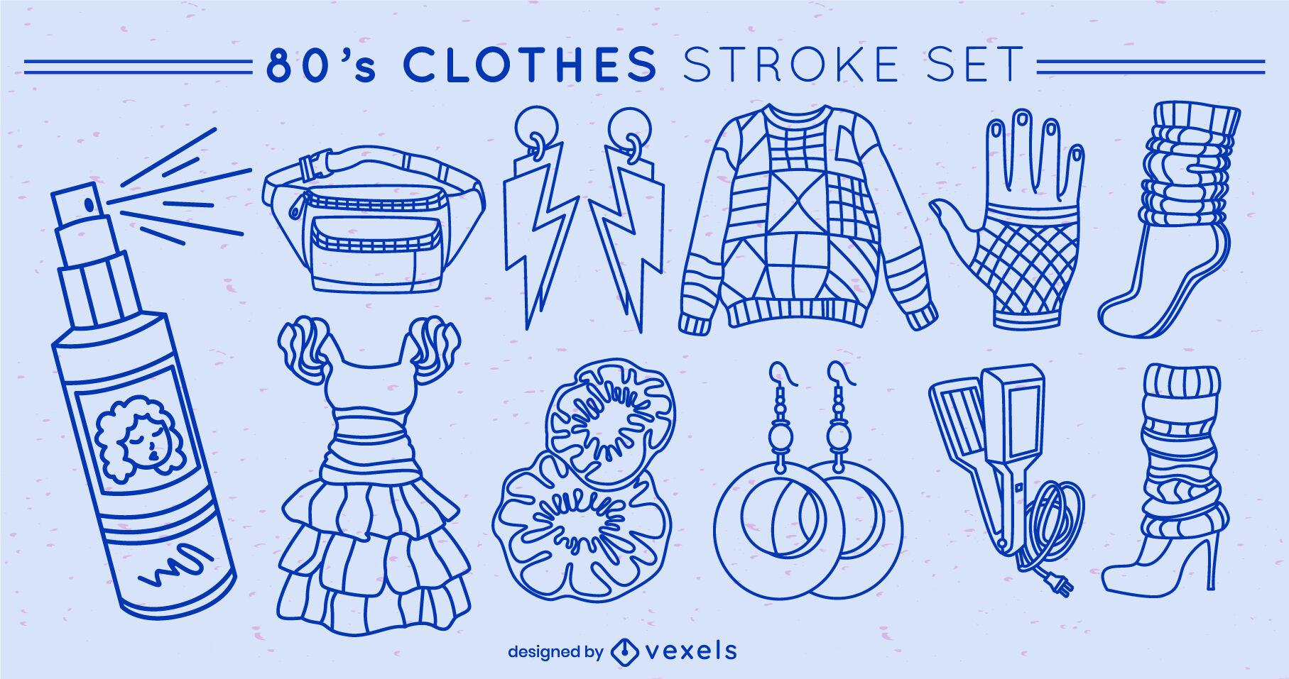 Retro clothing elements set stroke