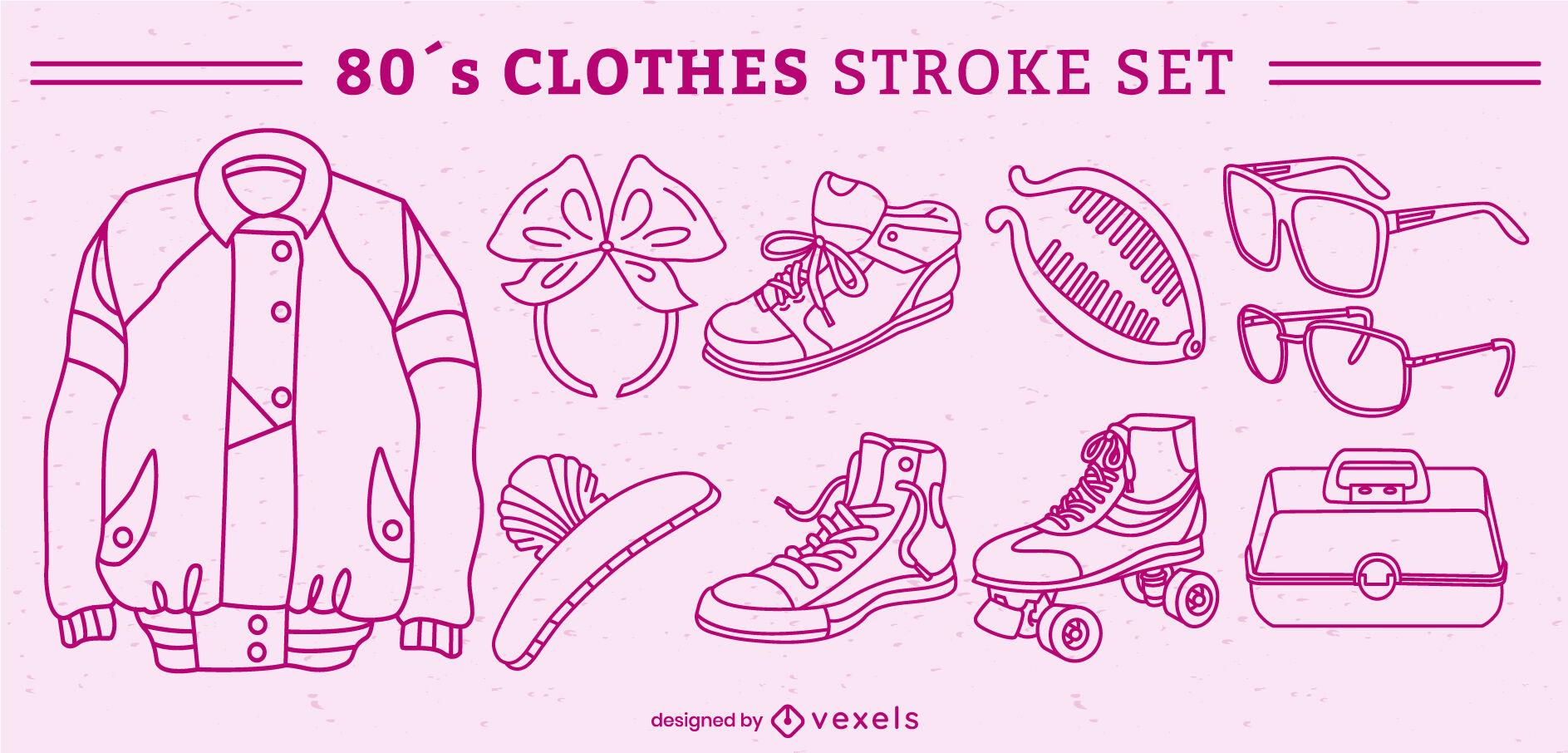 Retro clothing elements stroke set