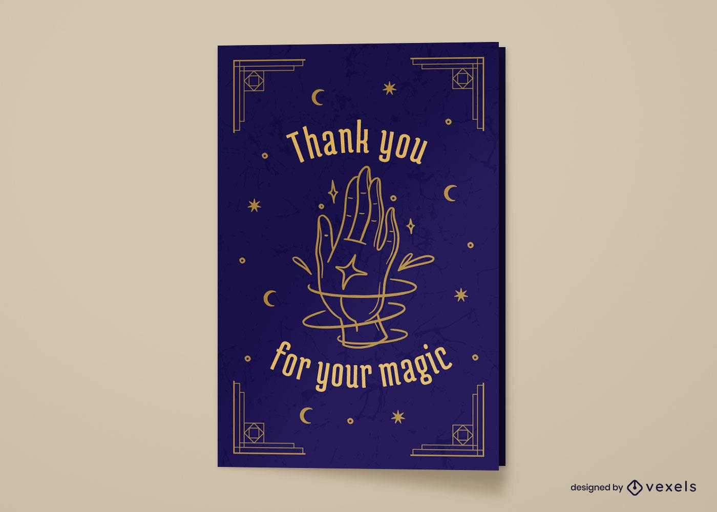 Diseño de tarjeta de felicitación mágica de mano mística
