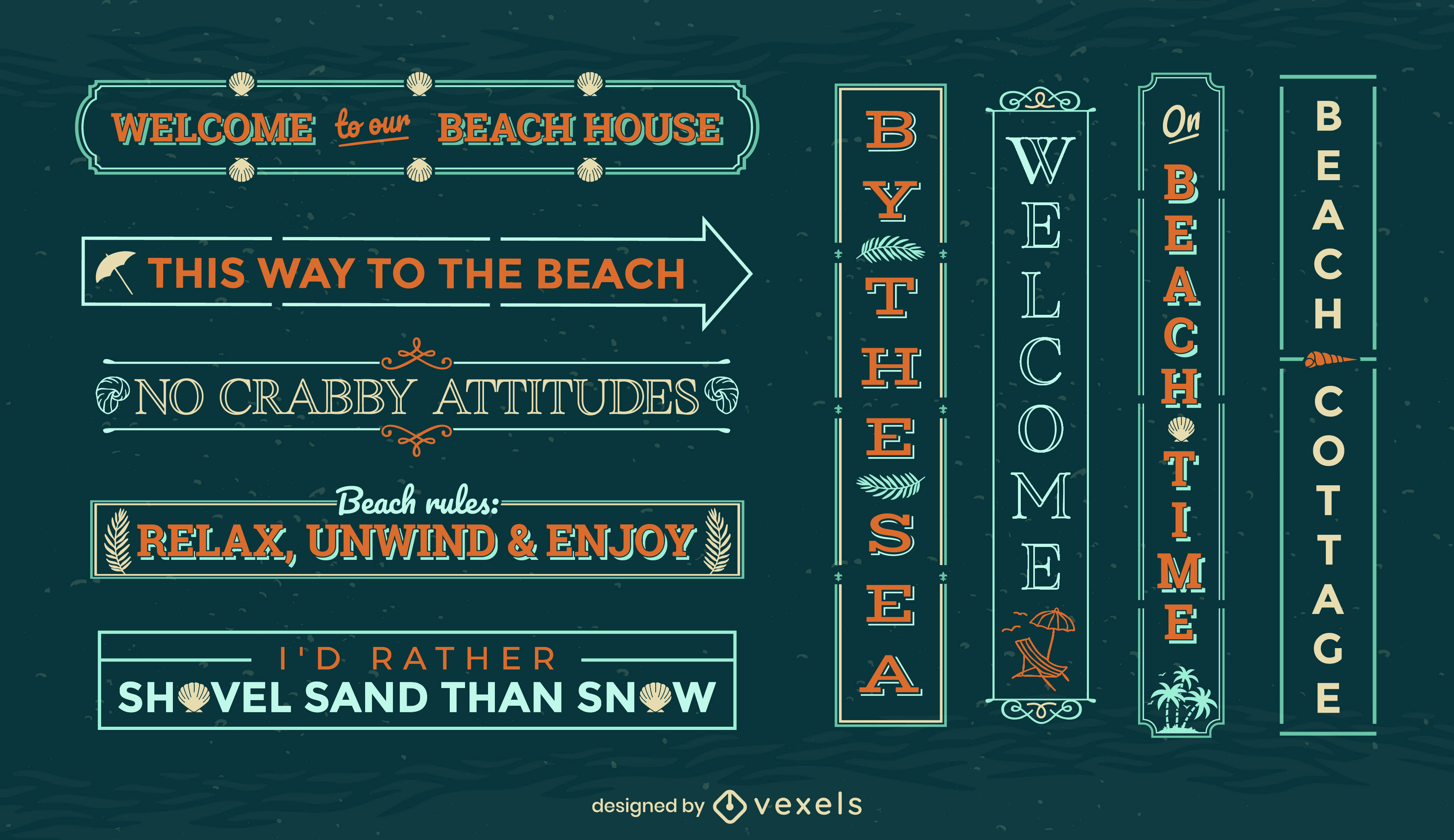 Conjunto de sinais de distintivo de férias de verão na praia