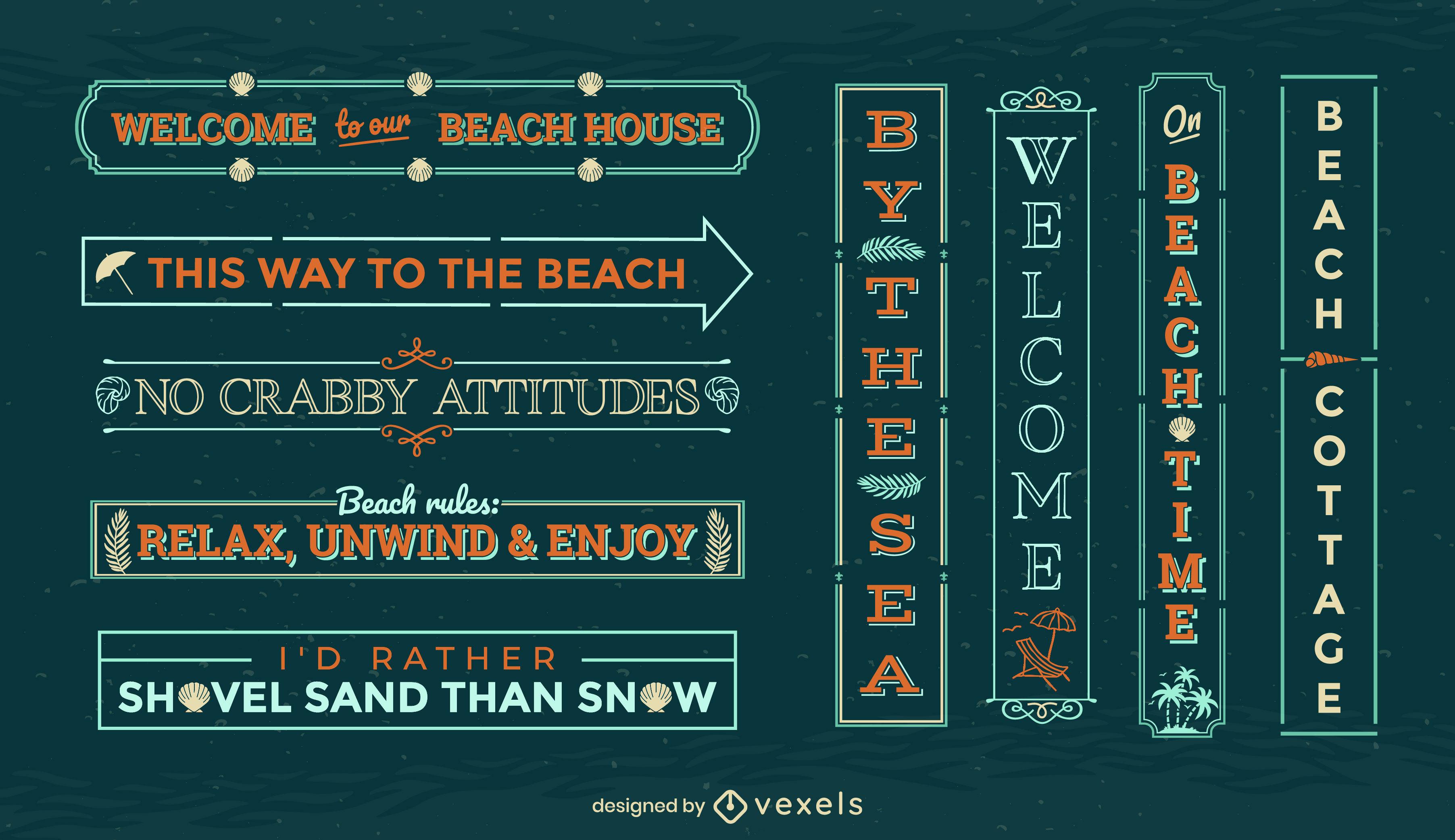 Summer vacation badge beach signs set