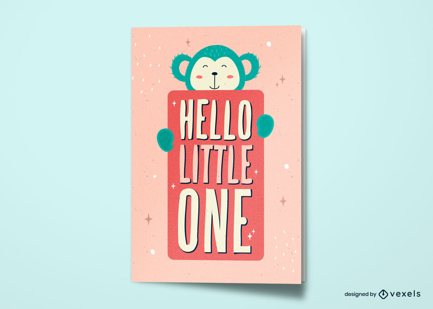 Diseño lindo de la tarjeta de felicitación del nuevo bebé del mono