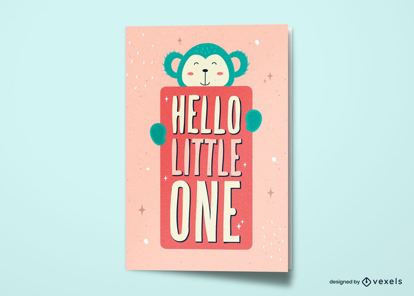 Macaco fofo novo design de cartão de bebê