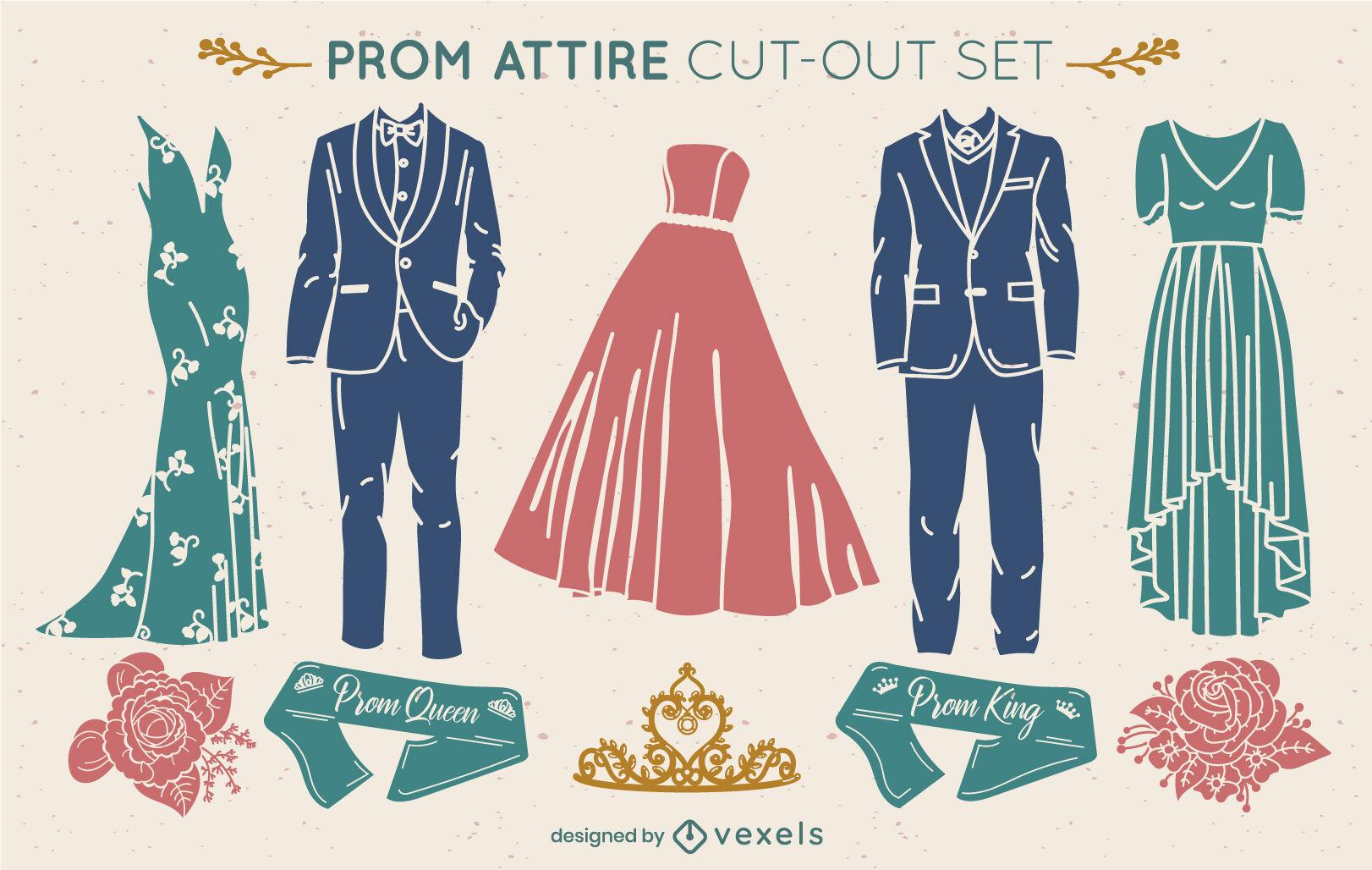 Conjunto de corte de ropa elegante de fiesta de graduación