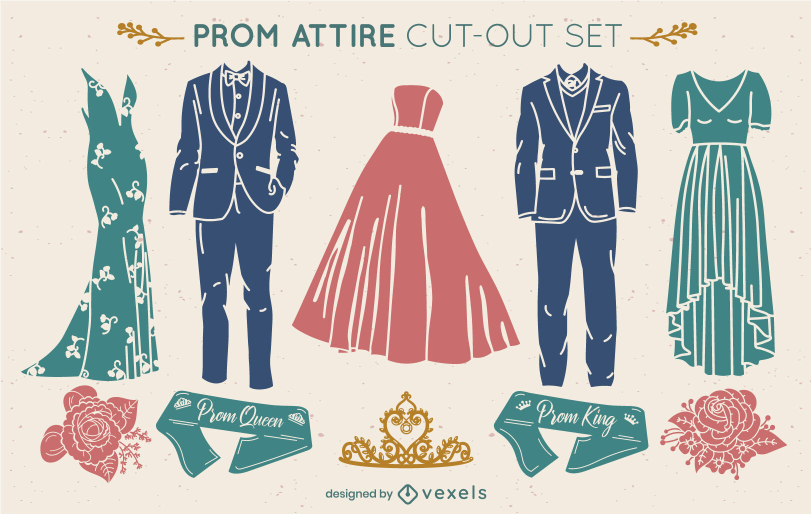 Prom party fancy clothing cut out set