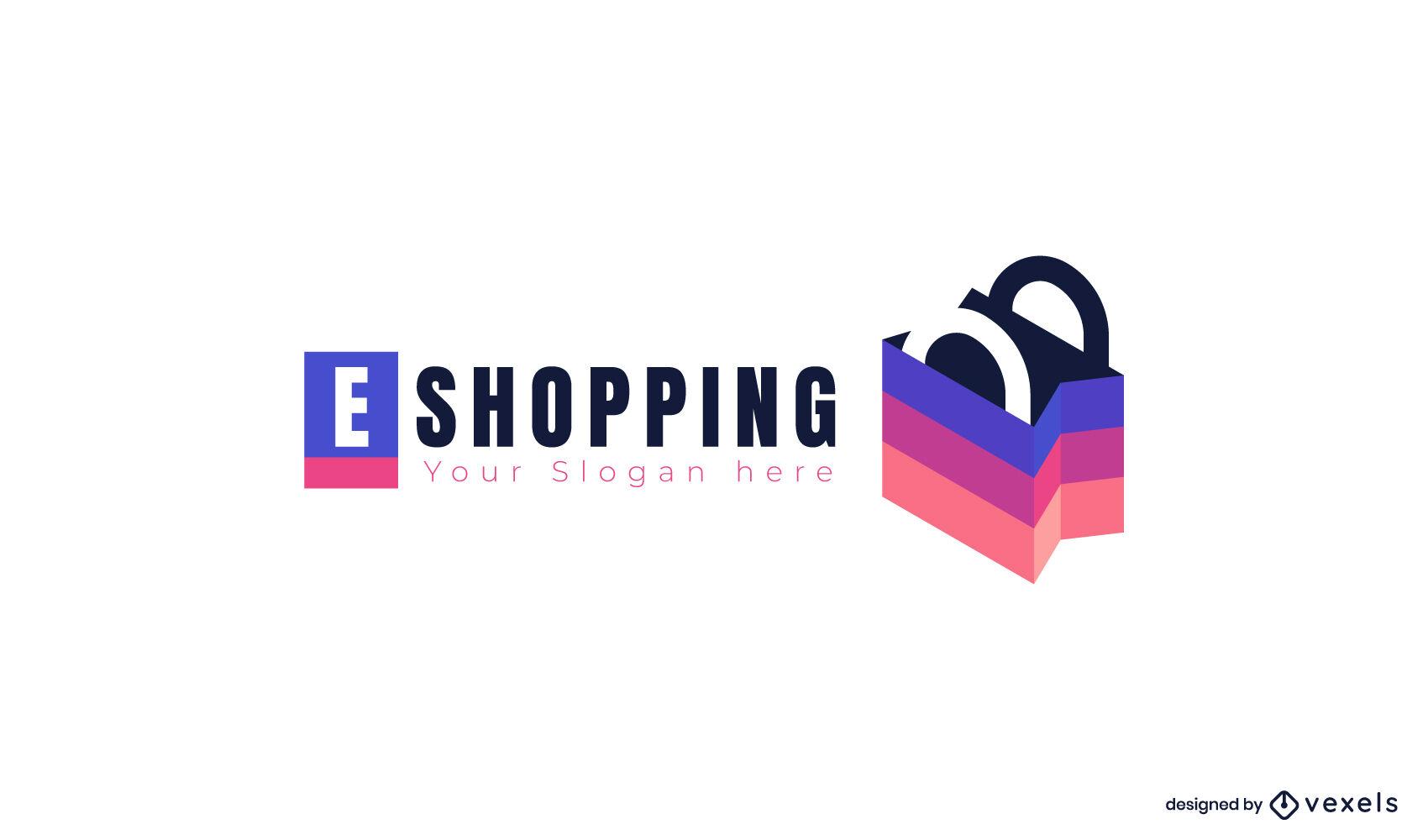 Logotipo da sacola de compras semi plana