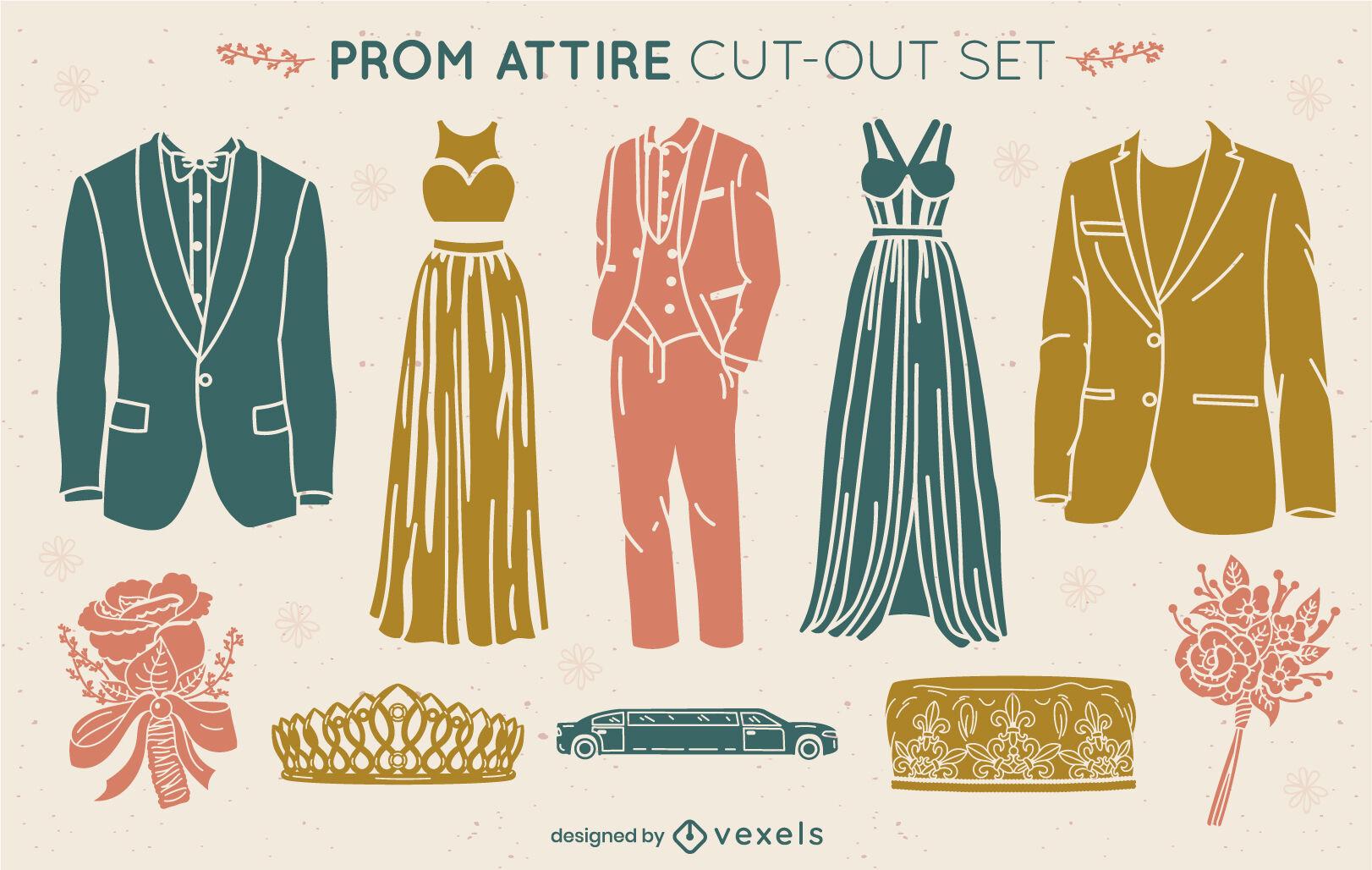 Conjunto de recorte de roupa formal para festa de baile