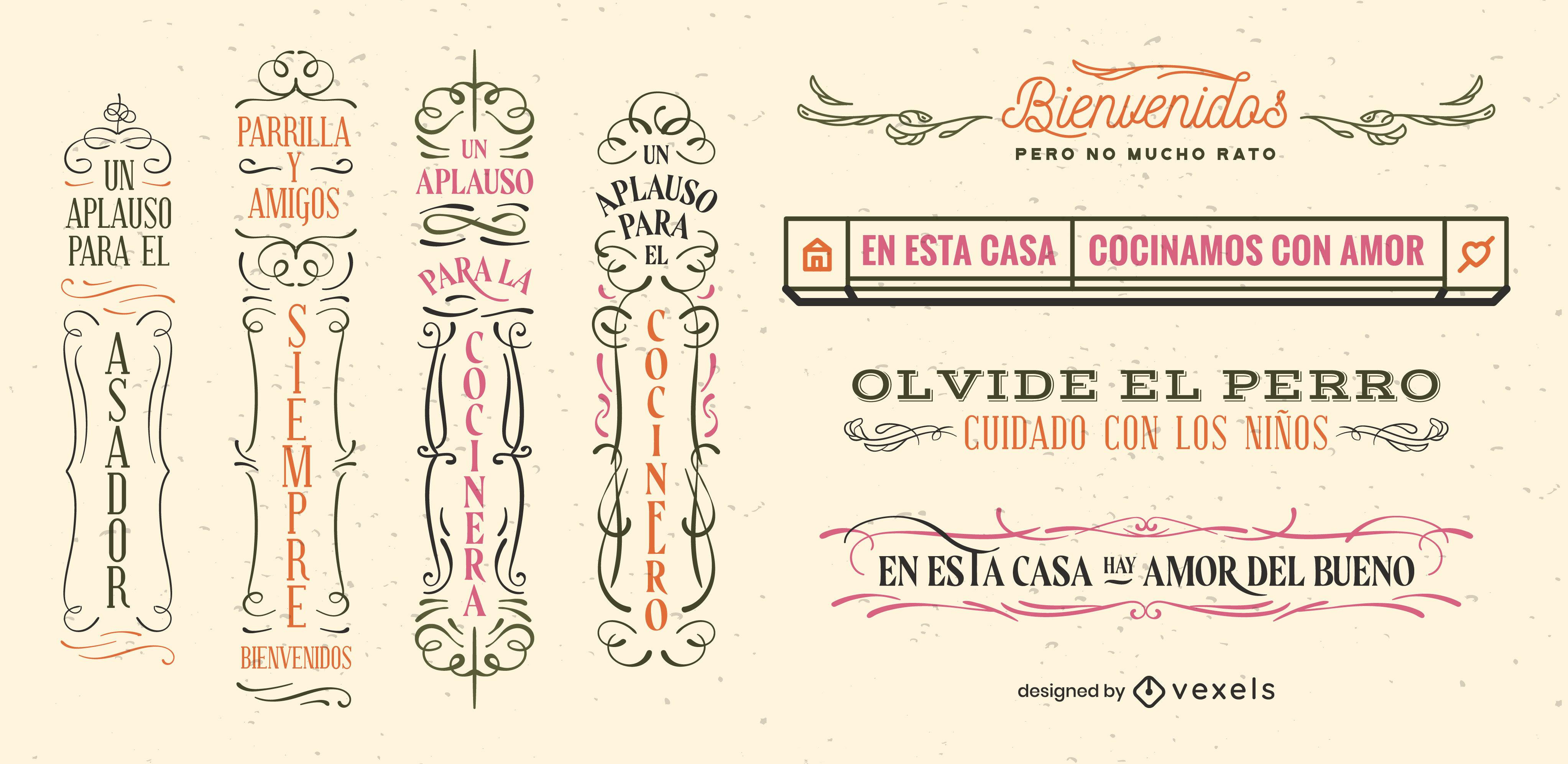Conjunto de insignias vintage de signos de citas en español