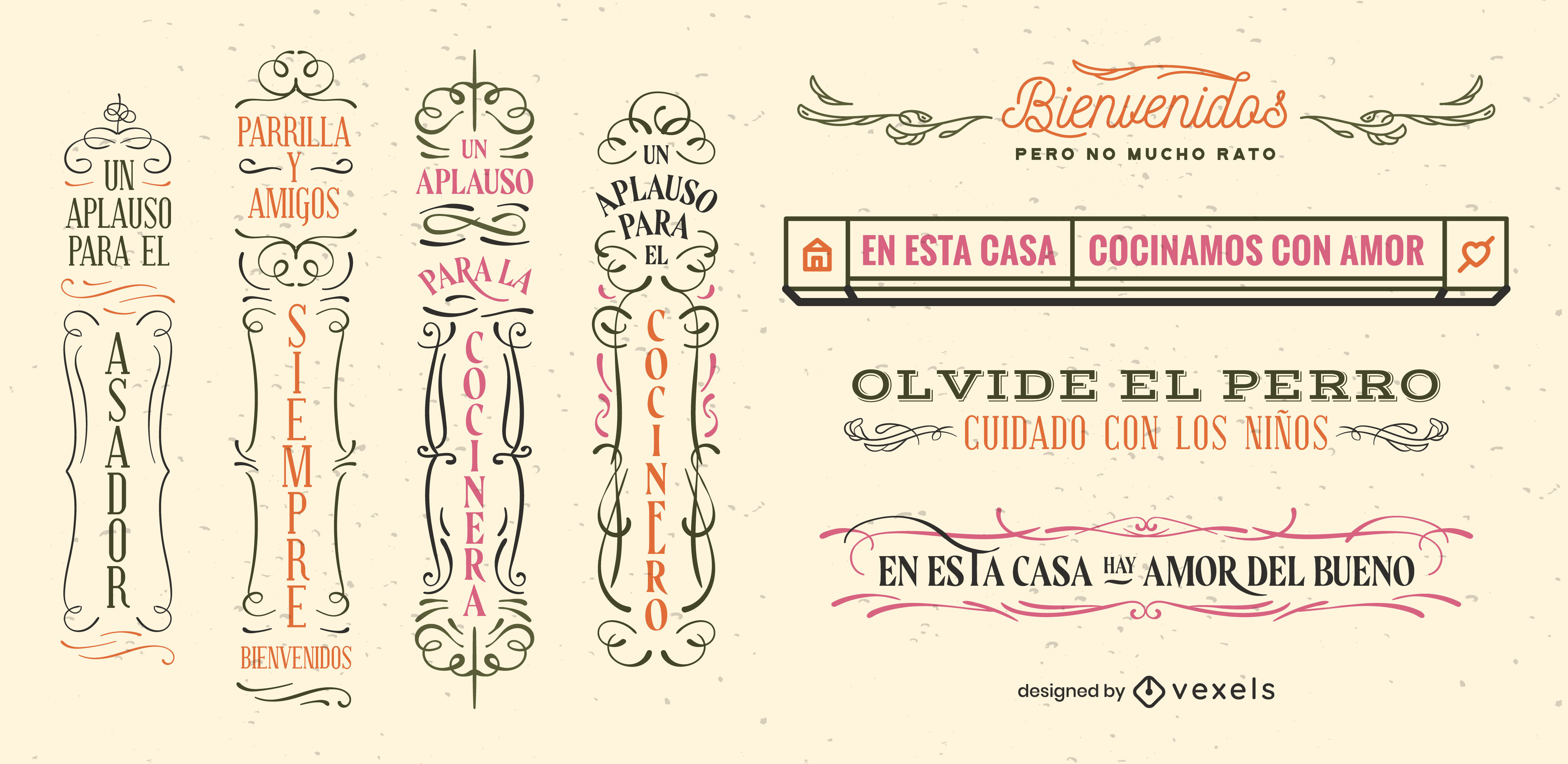 Spanish quotes signs vintage badge set