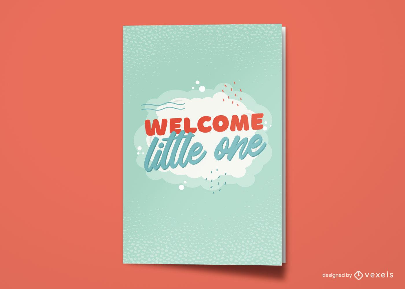 Diseño de tarjeta de felicitación de bienvenida de bebé nuevo