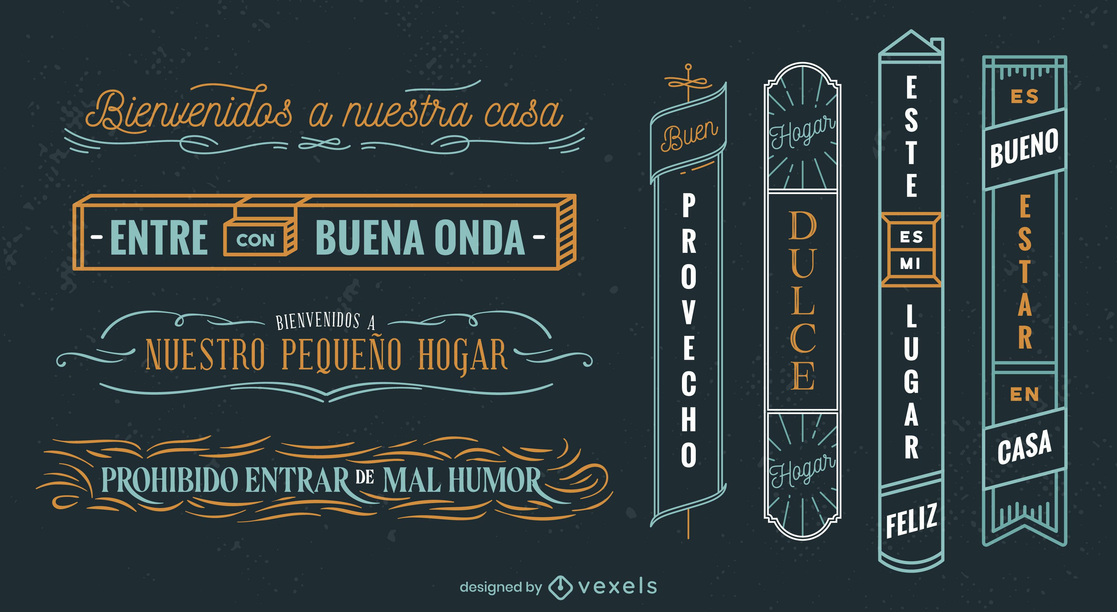 Spanish language quotes signs set