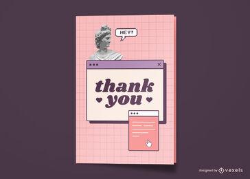 Thank you greeting card vaporwave design