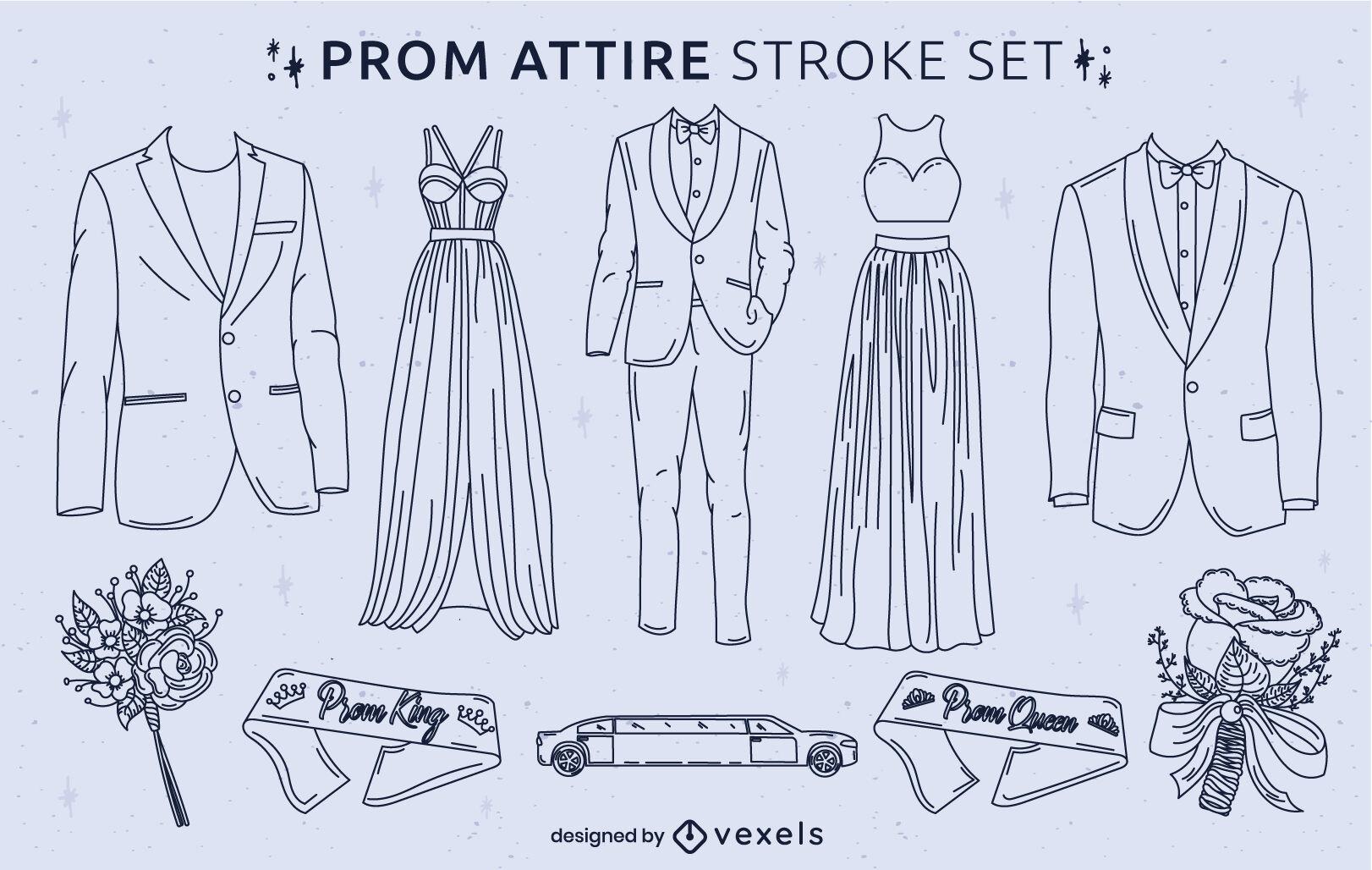 Prom Party elegante Kleidung Strichset