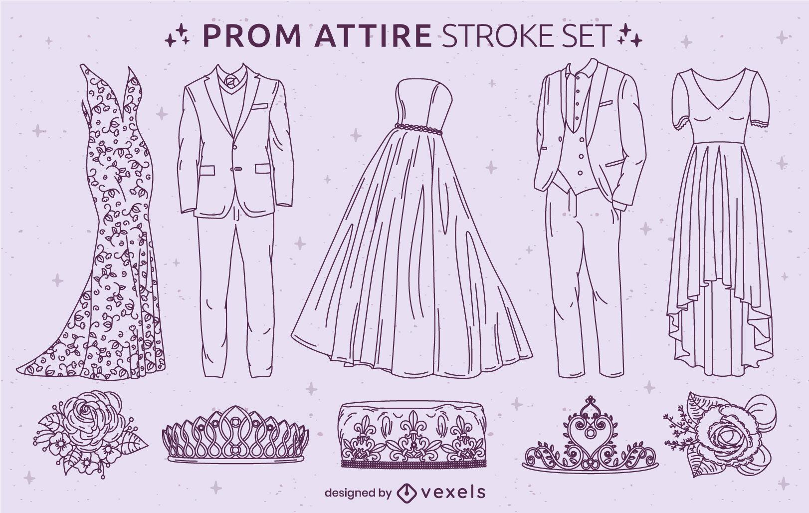 Conjunto de trazos de ropa de fiesta formal de baile