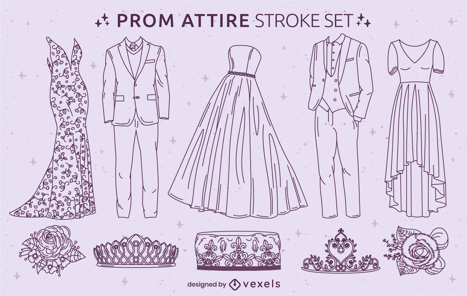 Prom formal party clothing stroke set