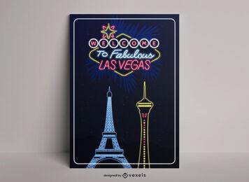 Las vegas neon city travel poster design
