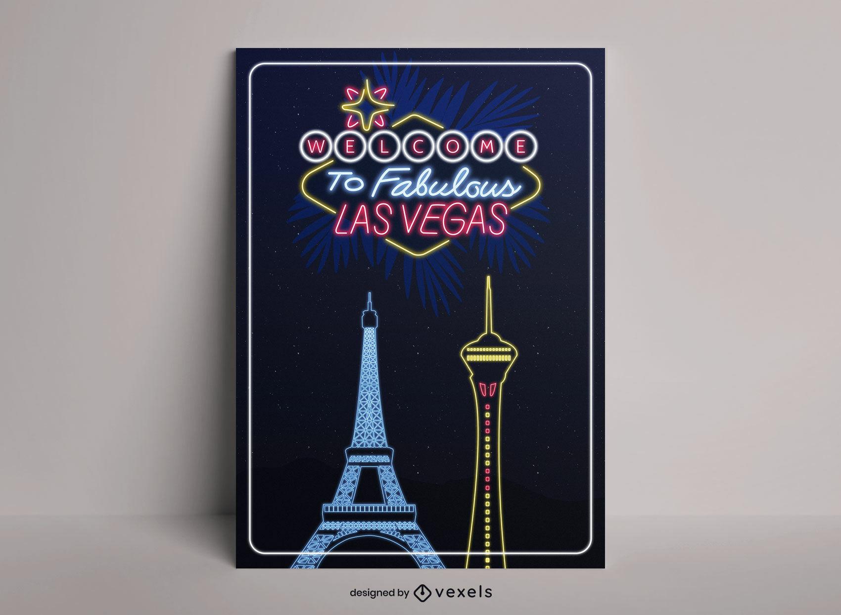Diseño de cartel de viaje de la ciudad de neón de las vegas